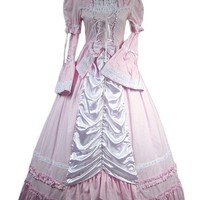 Sweet Victorian Pink and White Lace Long Lolita Dress