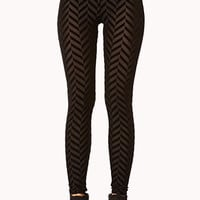 Velveteen & Mesh Chevron Leggings