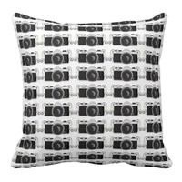 black vintage camera pillow