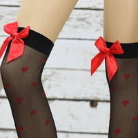 heart printed knee socks Boot Thigh high socks Leg warmer Sexy socks-bow socks