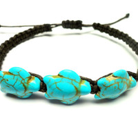 Turtle Adjustable Hemp Bracelet, Turquoise Howlite Sea Turtles and Brown Hemp