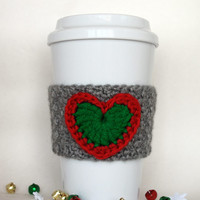 Crocheted Christmas Heart Coffee Cup Cozy