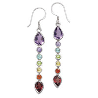Chakra Gemstone Earrings - New Age, Spiritual Gifts, Yoga, Wicca, Gothic, Reiki, Celtic, Crystal, Tarot at Pyramid Collection