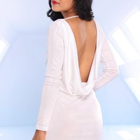 White Long Sleeve Dress with Open Draped Back Detail