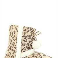 Metallic Leopard Slipper Boot with Poms and Fur Lining