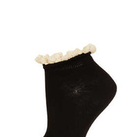 Black Lace Trim Trainer Sock - Ankle Socks - Tights & Socks  - Clothing
