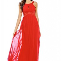 Red Chiffon Embellished Maxi Dress with Keyhole Front