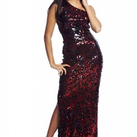 Red&Black Sequin One Shoulder Maxi Dress with Slit Detail