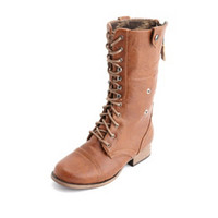 DISTRESSED ZIP-BACK COMBAT BOOT