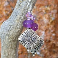Pewter Cross Earrings Swirls Handmade Purple Lampwork Crystal Jewelry