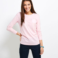 Women's T-Shirts: Long-Sleeve Whale Poolside Pocket Tee
