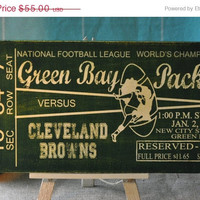 ThanksABunch - SALE - Green Bay Packers - Championship Ticket, Vintage Design Canvas wall decor, for sports room, Office, Dorm, Bedroom, ba