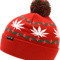 HUF Nordic Red Pom Fold Beanie