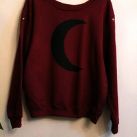 Maroon crescent moon sweatshirt