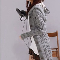 Hooded Cable Knit Cardigan 1BADBBJ