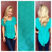 Teal Hi Low Button Up Blouse