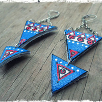 Upcycled, recycled, repurposed Leather Earrings - Bohemian jewelry - Triangle earrings - Gypsy, funky, boho - Tribal jewelry - Aztec jewelry