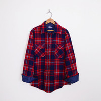 red plaid shirt, red flannel shirt, red white navy blue, 90s plaid shirt, 90s flannel, oversize shirt, 90s shirt, 90s grunge shirt, l xl