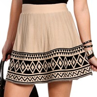 Taupe/Black Colorblock Pleated Skirt