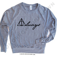 Womens Tri-Blend Pullover Raglan Long Sleeve american apparel S M L - Harry Potter Inspired Always deathly hallows