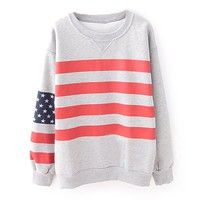 ZLYC Girls's Flag Striped Casual Gray Sweatshirt