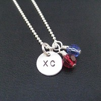 Sterling Silver CROSS COUNTRY XC SCHOOL COLORS with 2 CRYSTAL or PEARLS - Choose your Crystals or Pearls - Sterling silver pendants with Sterling or Leather and Sterling Chain