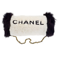 Very Rare Chanel Hand Muff White/Black with 'Chanel' Logo | 1stdibs.com