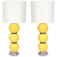 Pair of 1960's Yellow Sphere & Chrome Lamps