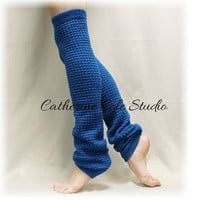 Leg warmers knit legwarmers dance yoga pilates ballet leggings knit leg warmers popcorn knit DANCE CRUSH Peacock Catherine Cole Studio LW02