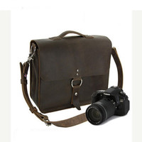 "10"" Brown Napa Midtown Leather Camera Bag -"