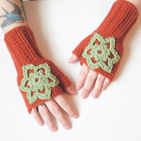 Crochet Fingerless Gloves Wrist Warmers in Paprika and Mint, wool blend, ready to ship.