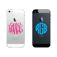 Set of 2 Monogram Vinyl Sticker Iphone 3 4 5 Android Phone FREE SHIPPING Choose Any Style & Color