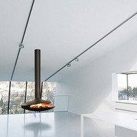 Open central hanging fireplace GYROFOCUS by Focus | design Dominique Imbert