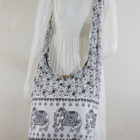 USA SHIPPING**white Cotton Printed Standing Elephants Cross body Shoulder Hippie Boho Hobo Messenger Bag E-EB18