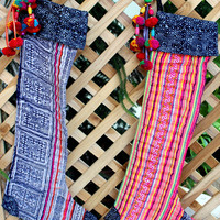 Ethnic Christmas Stockings in Hmong Embroidery and Batik