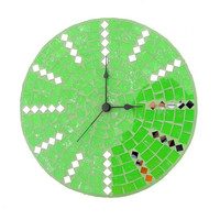Green wall clock chic modern home makeover large glass mosaic