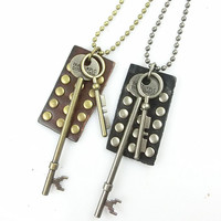 metal chain necklace key pendant men leather long necklace, women metalwork necklace LS-14