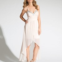 Lipsy Embellished Dip Hem Maxi Dress