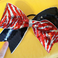 "3"", 3 inch ribbon cheer cheerleader bow- Navy sequins and red/silver zebra sequins"