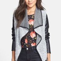 Coffee Shop Drape Front Faux Leather & Bouclé Jacket (Juniors) | Nordstrom
