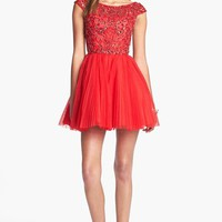 Sherri Hill Embellished Tulle Fit & Flare Dress (Online Exclusive)