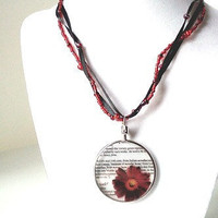 Beaded glass red flower pendant necklace focal by PinkCupcakeJC