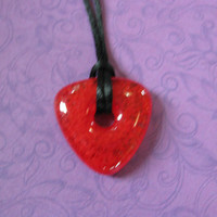 Red Necklace, Fused Glass Jewelry, Red Triangle - Lena - 4482 - 1