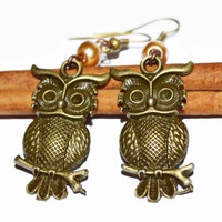 BUY ANY 4-Choose 1 FREE Bronze owl earrings charm chic earrings vintage look casual earrings affordable gift