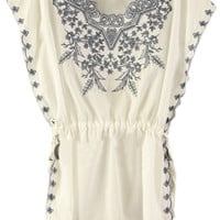 ROMWE | Short Sleeve Hollow Embroidery White Dress, The Latest Street Fashion