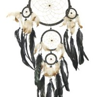 Dreamcatcher, Dark Brown Earthtone, Beads & Feathers, 30-inch