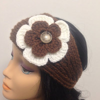 Headband,Brown headband, With Flowers,Knit Ear Warmer Crochet Flower,Knit Headband,Knit Head Wrap