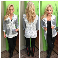 Grey Aztec Burnout Jacket