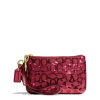 COACH Small Wristlet in Sequin Signature C Fabric at Von Maur
