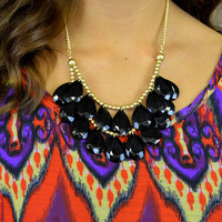 Monaco Black Teardrop Bib Necklace